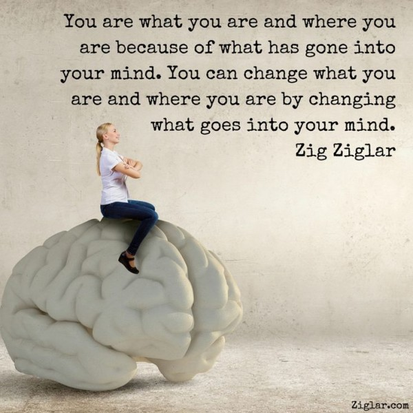 You are what you are and where you are because of what has gone into your mind. You can change what you are and where you are by changing what goes into your mind. - Zig Ziglar