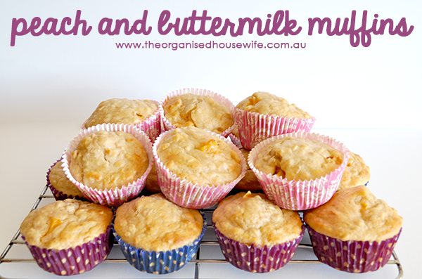 {The Organised Housewife} Peach and Buttermilk Muffins