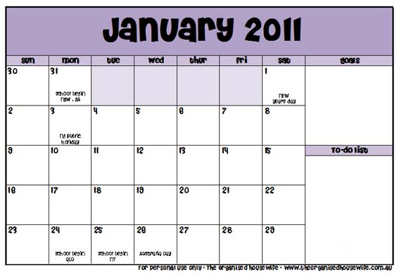 Free Printable January 2011 Calendar The Organised Housewife