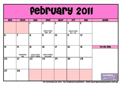 february calendar printable   the organised housewife