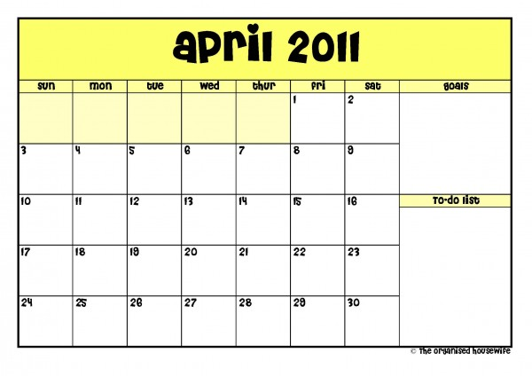 Printable} April 2011 Calendar with to-do list | The Organised ...
