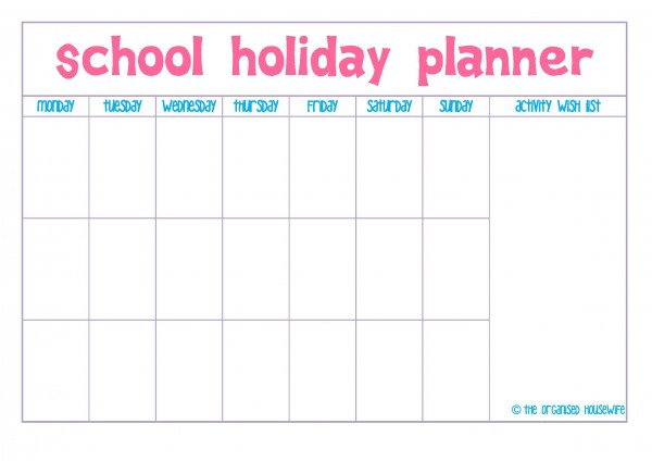 printable  easter school holiday planner  u2013 the organised
