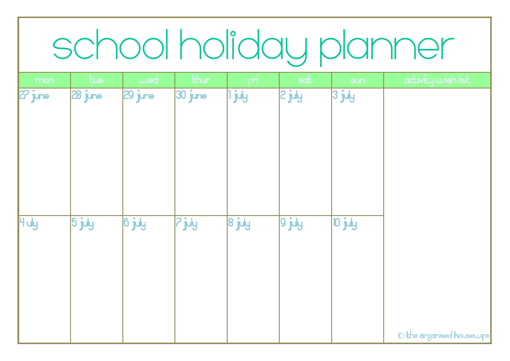 free printable  school holiday planner