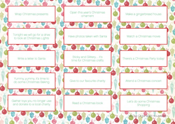 Calendar Activities Printables : Items to put in advent calendar the organised housewife