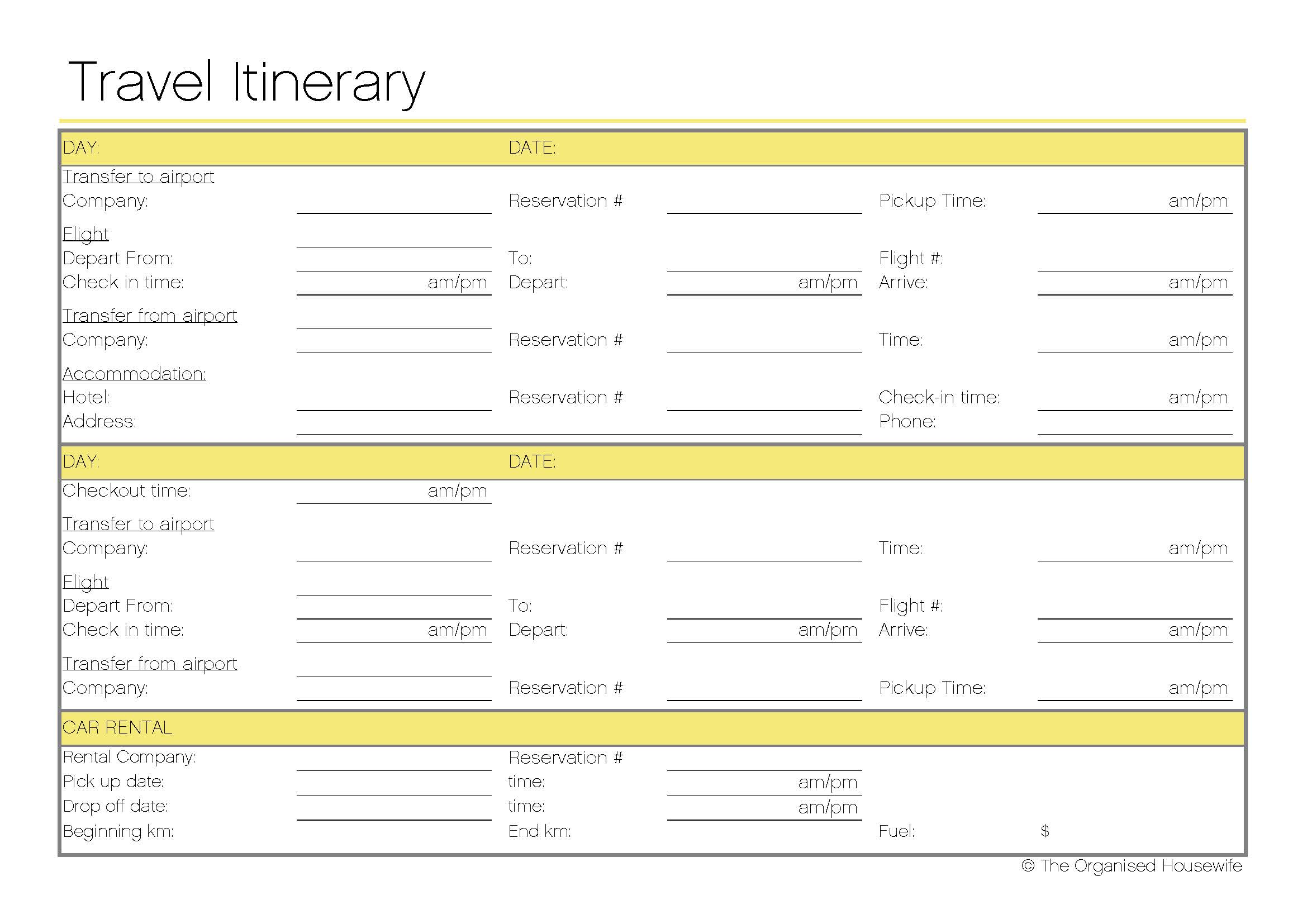 Free printable travel itinerary the organised housewife for Blank trip itinerary template