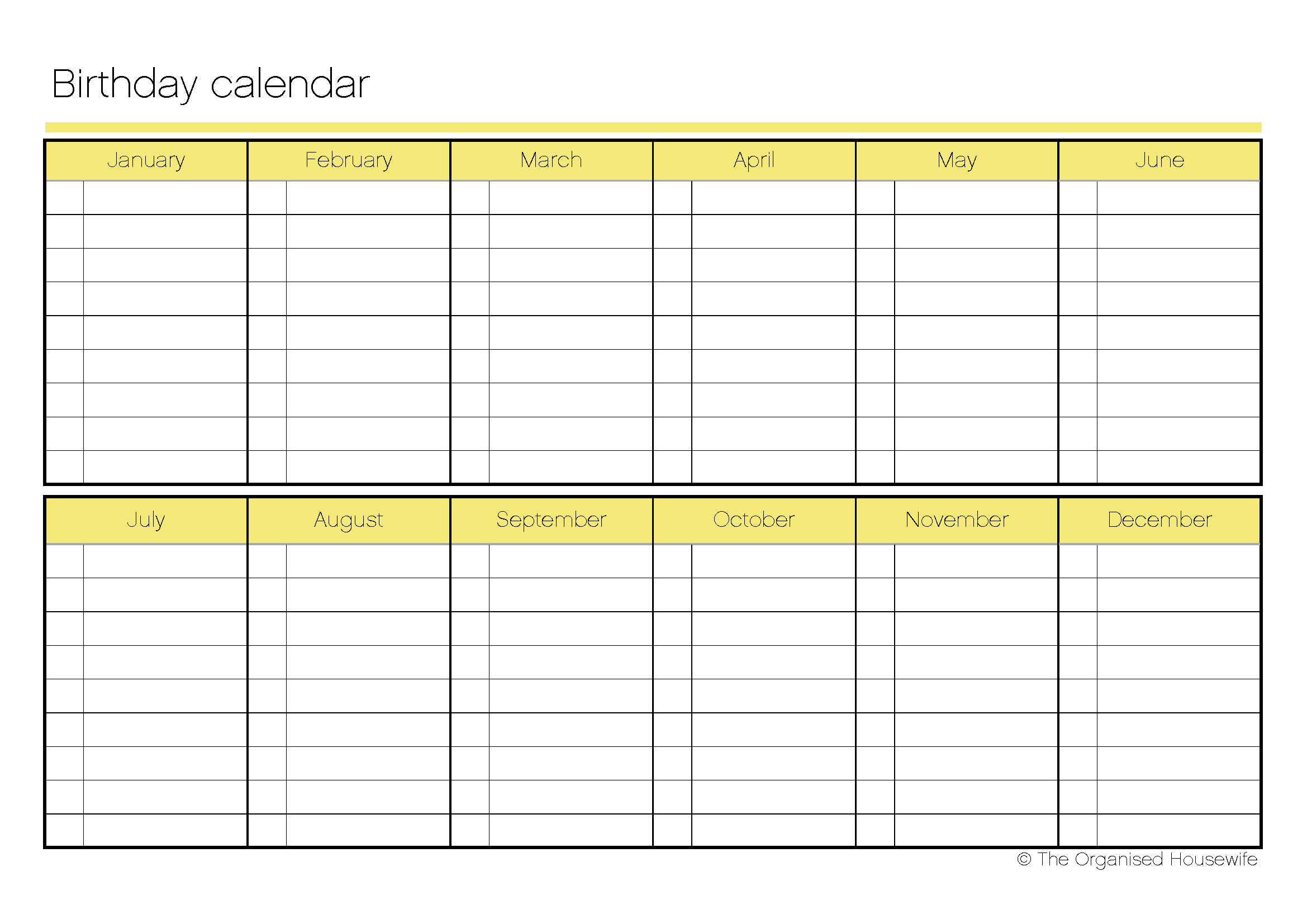Printable birthday calendar the organised housewife for 12 month planner template