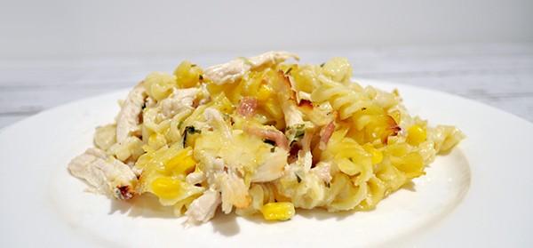 creamy-chicken-pasta-bake-on-plate