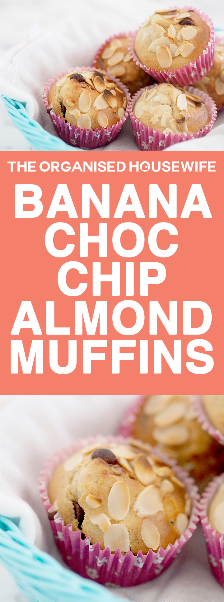 This Banana Choc Chip Almond Muffin recipe is really quick to prepare, a great recipe for the kids lunch boxes (omit nuts if your school doesn't allow).