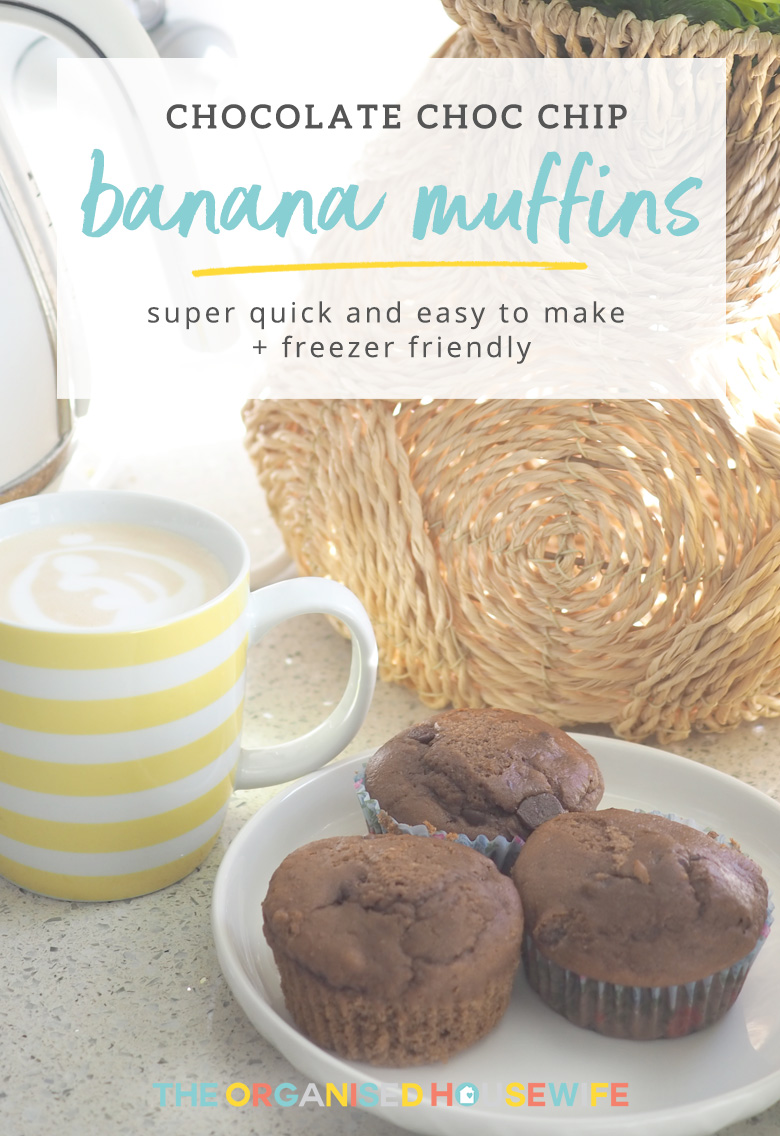 Banana Choc Chip Muffins are a classic flavour combination. These are soft, delicious and are made using common household ingredients - meaning you can be ready to whip up a batch at any time!