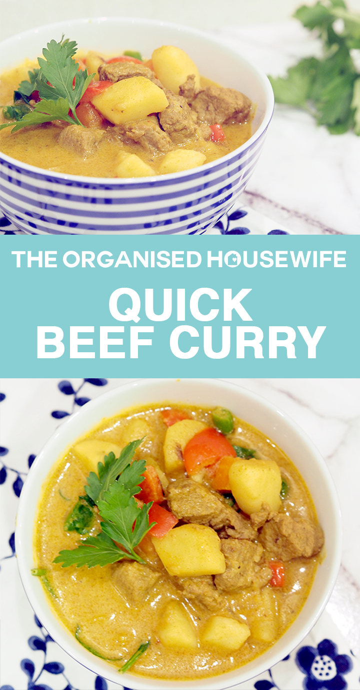 This creamy Quick Beef Curry only takes 30 minutes to cook, full of flavour and deliciously tender vegetables. Perfect winter dinner idea.