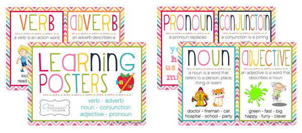 ... Adjective, Verb, Adverb or Pronoun? Printable posters to help the kids