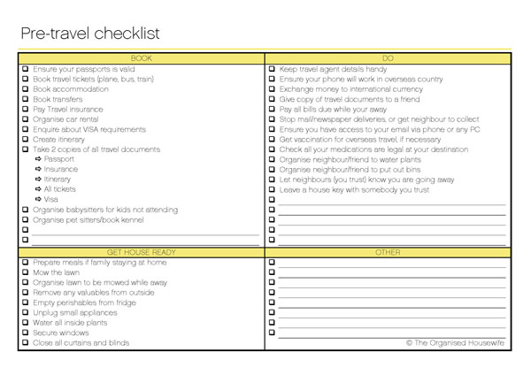 The Organised Housewife Pre-travel checklist 2