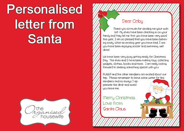 The Organised Housewife} Personalised Letter from Santa