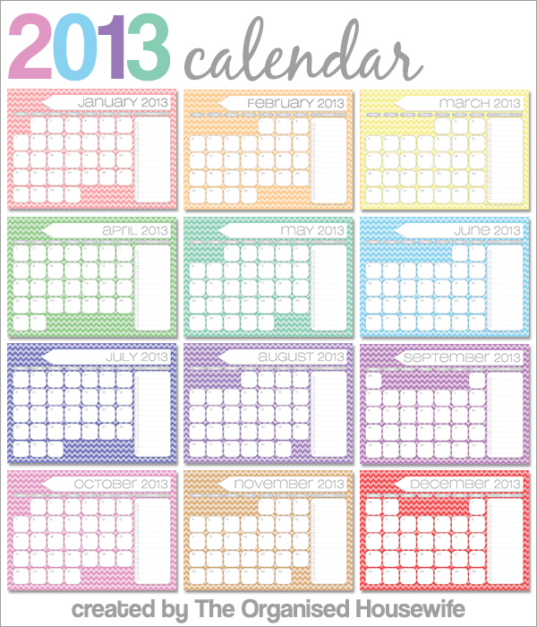 Free Printables} 2013 Monthly Calendars with to-do list