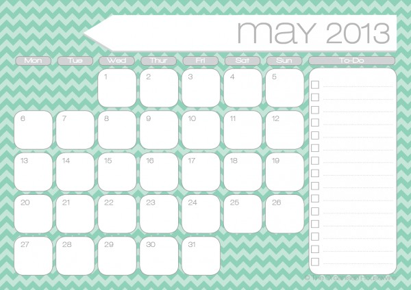 Free Printables} 2013 Monthly Calendars with to-do list | The ...