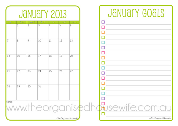 Printable} The 2013 Planner - The Organised Housewife