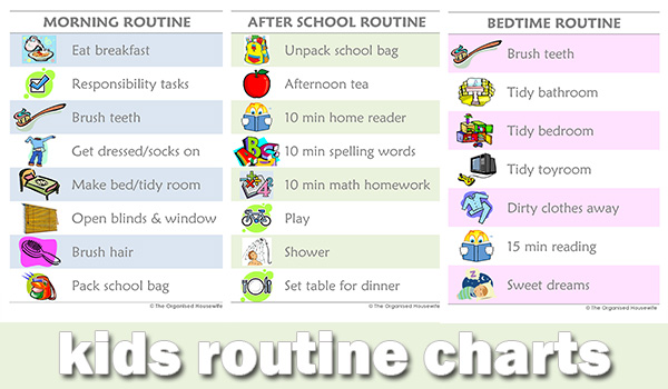 {The Organised Housewife} Kids Morning, Afternoon and Evening Routine Charts