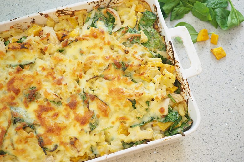 Chicken and Roast Pumpkin Pasta Bake recipe