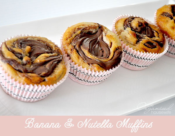 {The Organised Housewife} Banana and Nutella Muffins
