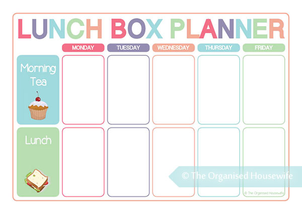 {The Organised Housewife} Lunch Box Planner