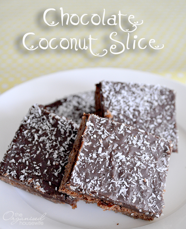 {The Organised Housewife} Chocolate Coconut Slice