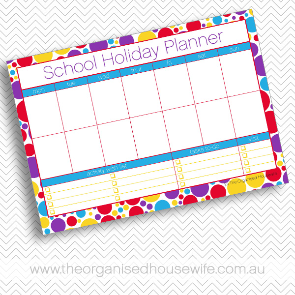 {The Organised Housewife} School holiday planner