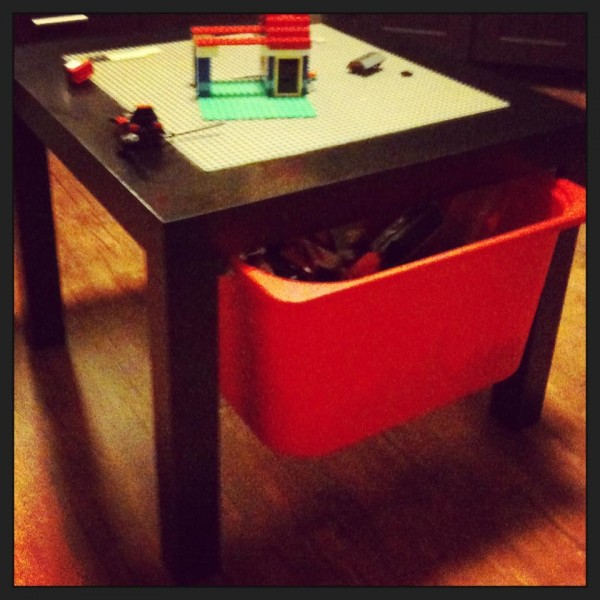 Shared by Jasmine S u2013 Lego table with storage box. Made by my hubby from a $10 Ikea side table Trofast storage box and a couple of sliders. Holds a lot. & 40+ Awesome Lego Storage Ideas - The Organised Housewife
