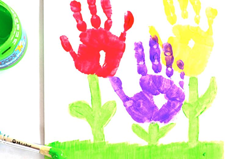 mothers day handprint flower art