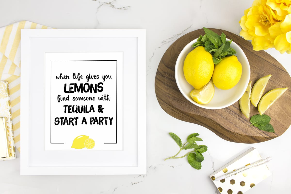 Positive affirmations - When life gives you lemons print