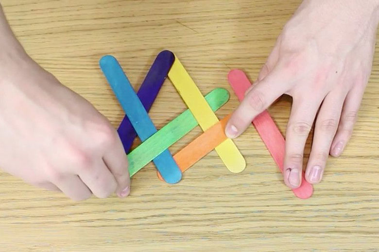 school holiday activity - paddle pop stick chain reaction