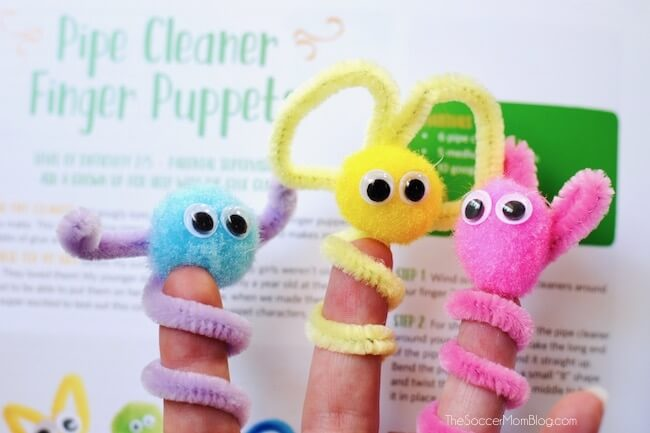 kids school holiday craft project - pipe cleaner puppets