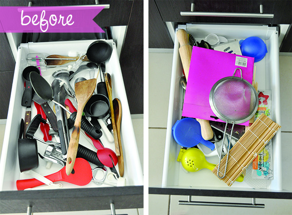 before how to organise kitchen drawers