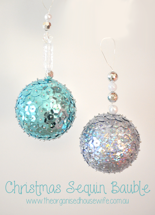 Christmas Sequin Bauble The Organised Housewife