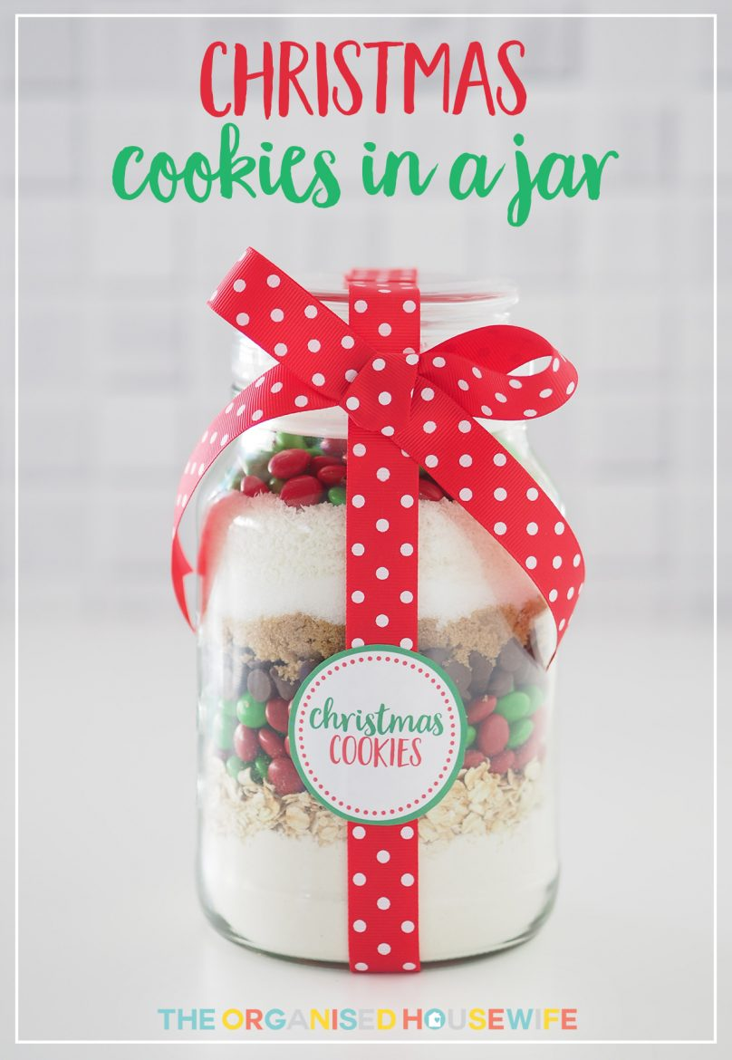 Gift idea christmas cookie mix in a jar the organised for Christmas cookies to make for gifts