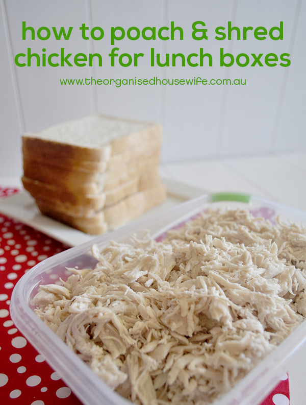 Homemade shredded chicken breast for school lunchboxes the how to poach and shred chicken for lunch boxes school thermomix fandeluxe Images