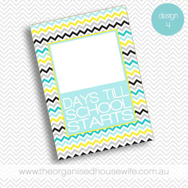 {The Organised Housewife} Countdown till School Starts - Design 4