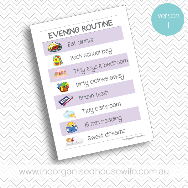 {The Organised Housewife} Evening Routine Chart - Purple - Version 1