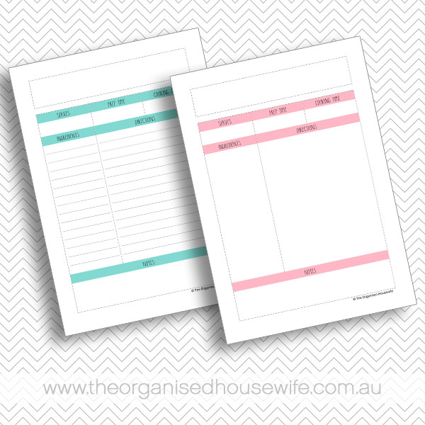 {The Organised Housewife} Recipe Organiser Binder - Recipe Pages