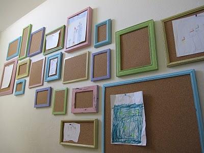 Corkboard frames for displaying kids art