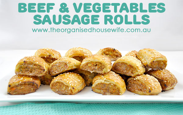 HOMEMADE BEEF & VEGETABLE SAUSAGE ROLLS - Friday night dinners in our home typically mean something fun like Pizza, Mexican, Pasta. However it's usually no side servings of vegetables, these sausage rolls are great for sneaking in the good stuff.
