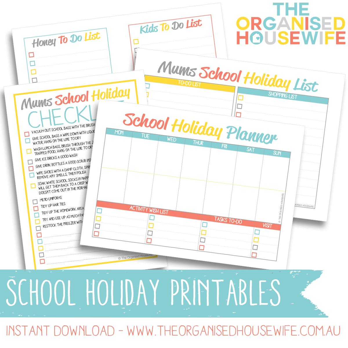 mums school holiday planner and checklist bundle - design 2