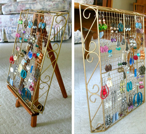 Jewellery Hanging Earring Storage DIY 5