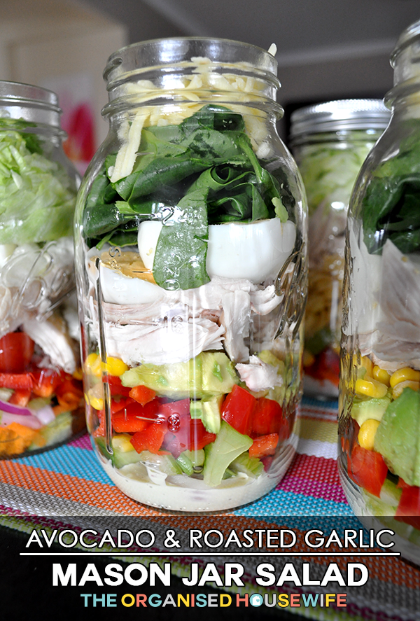 {The Organised Housewife} Avocado and Roast Garlic Mason Jar Salad