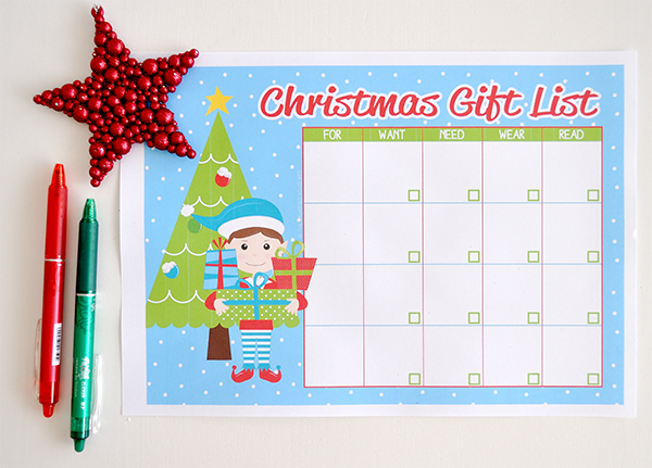 Christmas Gift List Printable