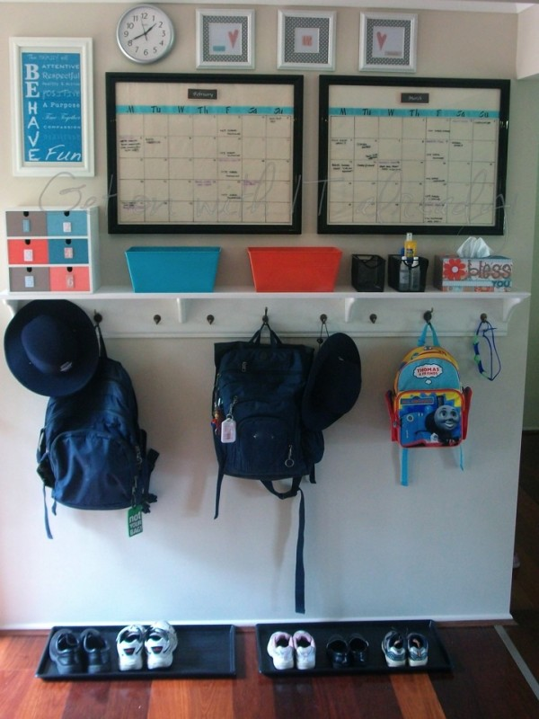 school bag organised hook and station for home