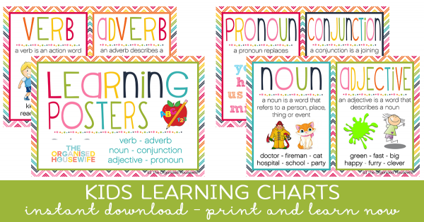 KIDS LEARNING CHARTS noun verb