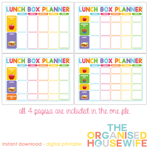 {The Organised Housewife} Lunchbox Planner
