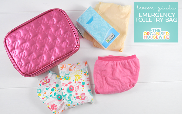 Tweens emergency toiletry bag