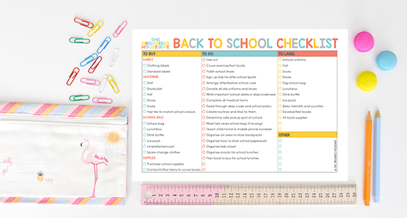 {The Organised Housewife} 2015 Back to School Checklist FREE