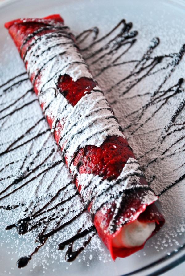 Valentines Day Food and Craft ideas 4 - Red Velvet Crepes